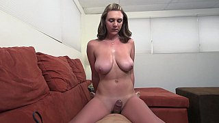 Natural titted handjob