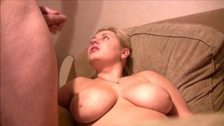 Cute girlfriend being his cum canvas