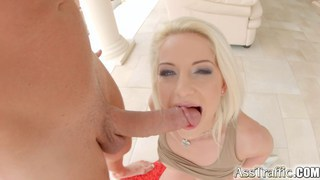 Ass-fucked blonde swallows a load