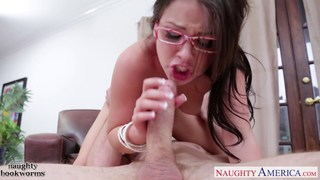 Beauty brunette geek cutie Lola Foxx take cock