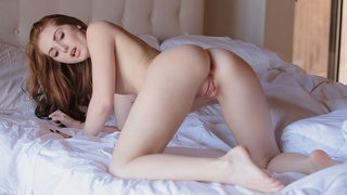 Slender sweetie Natalie Lust warms uses her talented fingers and a vibrator on her bald pussy for...
