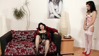Madam brunettes fuck their pussy plus hump toys