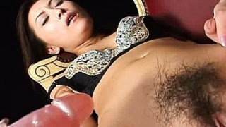 Super horny Japanese AV model uses a vibrator to toy her shaved pussy