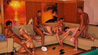 Lesbian action and group orgy