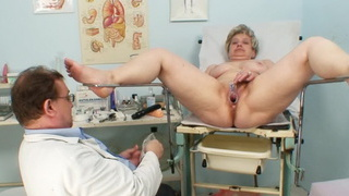 Busty grandmother Ruzena visits gyno fetish clinic