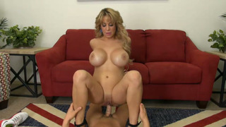 Big boobed cougar deepthroats and rides a hard dick