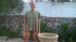 Young Sasha Blonde posing