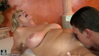 Mature lady is sucking dick feat. Sally G.