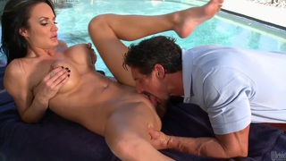 Hot sex by the pool with a massage boy