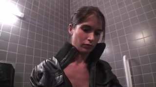 Young babe Nessa Devil takes on cock in toilet