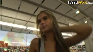 Hot blond slut Nessa Devil being fucked in a public shopping mall