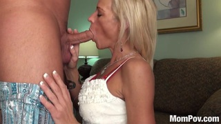 Slutty blonde milf does 2 blowjobs