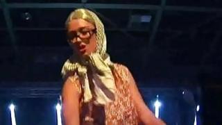 Doll fucks with dildo on sexfair stage