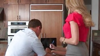Brandi Love and Taylor Whyte threesome on massage table