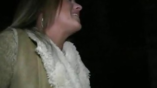 Busty blonde flashing outdoor at night