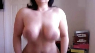 Brunette Busty milf deep riding dildo on webcam