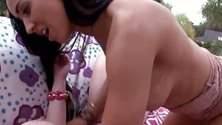 Stepmom Isis Love threesome sex with teen couple outdoors