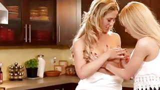 Cooking a pretty blonde girl by hot Mommy