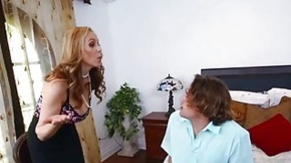 Sexy maid Abby Lee Brazil 3way with milf Julia Ann in bed