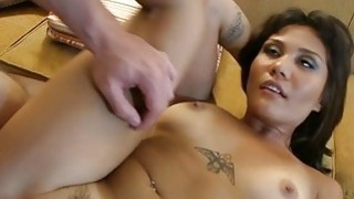 Shaved pussy aperture gets nailed by thick dick