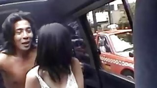 Slutty schoolgirl blows her driver and rides him like a slut