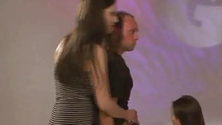 Pervs wait their turns to disgrace 2 horny brunettes