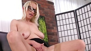 Nerdy blonde Sabina dildoing her smooth snatch