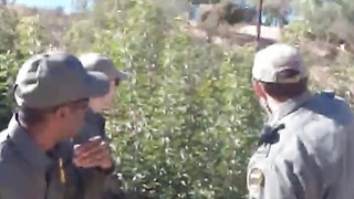 Hot Latin booty caught in the border by horny officer