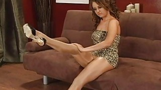 Sexy doll poses in pantyhose