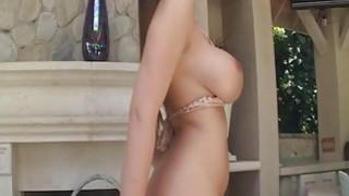 Busty hottie spreads her pussy wide