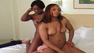 White man is dominated by two powerful ebony ladies
