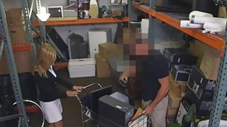 Hot amateur blonde milf railed in storage room by pawn guy