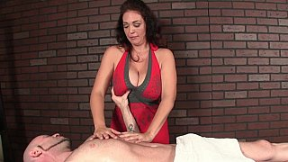 Milf with huge natural tits massaging