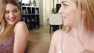 Blonde lesbians Kenna and Jenna licking on couch