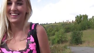 Blonde without panties banged outdoor