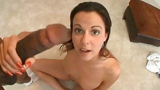 Goldenhaired is willing to engulf a big dick
