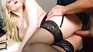 Naughty bigtits Katy Jayne rides bigcock on the of