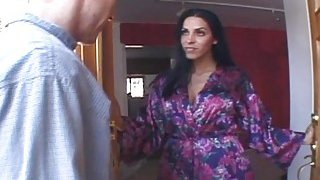 Dark haired step mom gets roughly banged in bedroom