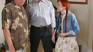 Young teen with pigtails rides old guy long shaft