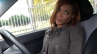 Kiki Minaj Ebonys lesson ends in creampie while at drivers ed