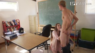 Busty bitch sucks off a big dick in the classroom