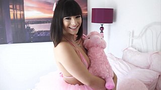 Childlike brunette gets her smooth pussy fucked