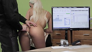 Blonde applying for a loan