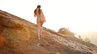Dani Daniels masturbating alone with the nature