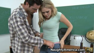 Nasty student Sindee Shay giving hot blowjob to her teacher and gets pushed hard