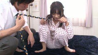 Asian bitch Aika Hoshino on a leash gets her dirty asshole stuffed