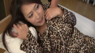 Whorish japanese MILF in leopard pajama gets abused