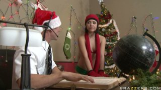 Frisky Christmas elf Kristina Rose gets her glorious rack fucked