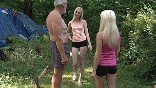 Blondes share grandpa's dick
