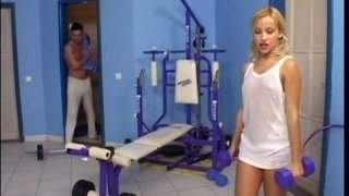Sexy skinny babe Candy is attracted to handsome dude in the gym